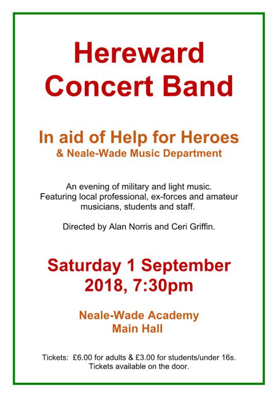 Hereward Concert Band, Saturday 1st September 7:30pm