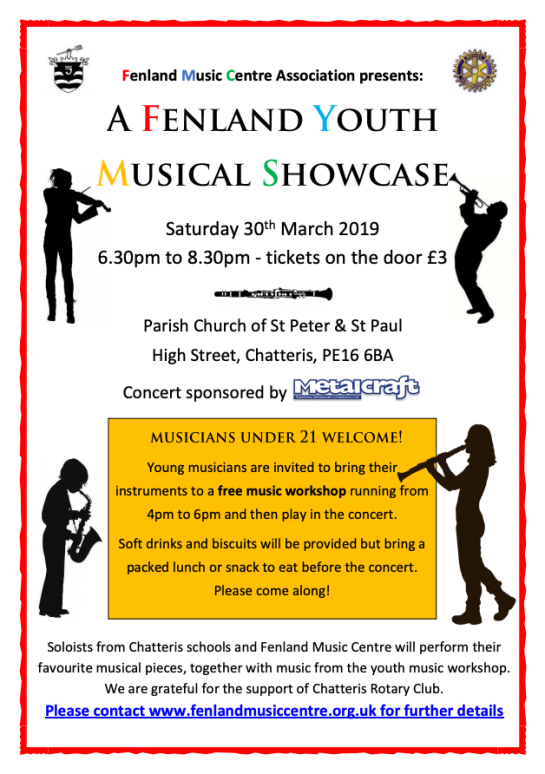 A Fenland Youth Musical Showcase, Saturday 30th March 2019 6:30-830pm
