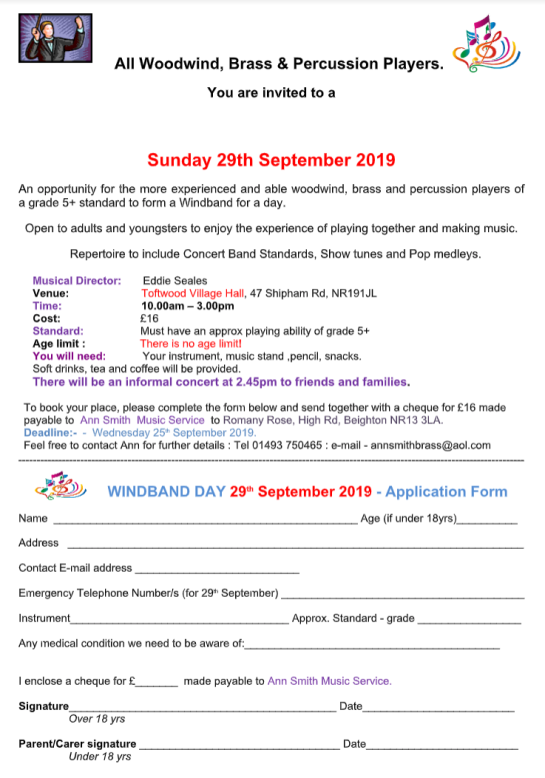 Sunday 29th September - Woodwind, Brass and percussion players form a Windband for the day