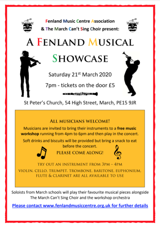 A Fenland Musical Showcase - 21 March 2020, 7pm, St Peters Church, March
